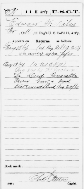 Niles, Edward F - Age [Blank], Year: 1864 - 11th US Colored Heavy Artillery, Misc Cards, E-Y - United States Colored Troops: Artillery Organizations
