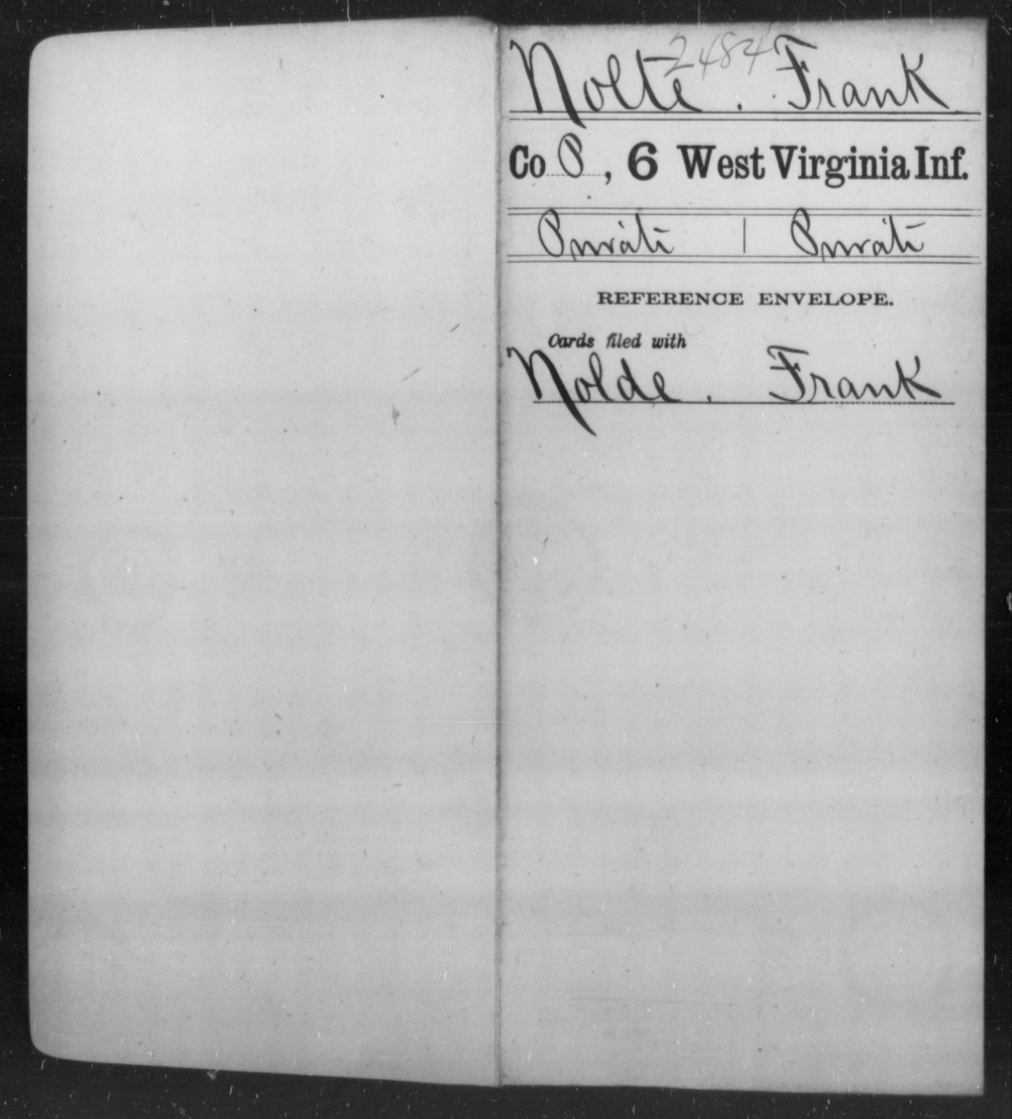 Nolte, Frank - Age [Blank], Year: [Blank] - Sixth Infantry - West Virginia