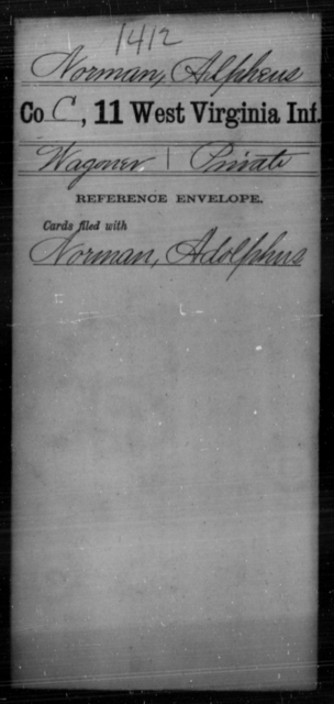 Norman, Alpheus - Age [Blank], Year: [Blank] - Eleventh Infantry - West Virginia