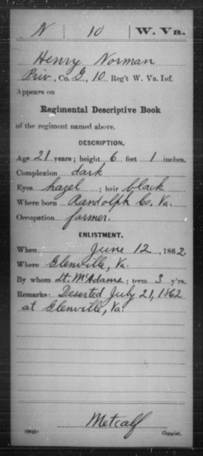 Norman, Henry - Age 21, Year: 1862 - Miscellaneous Card Abstracts of Records - West Virginia