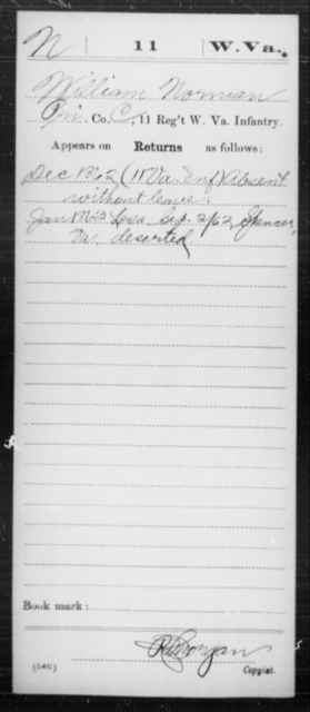 Norman, William - Age [Blank], Year: 1862 - Miscellaneous Card Abstracts of Records - West Virginia