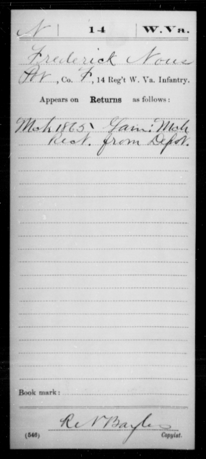 Nous, Frederick - Age [Blank], Year: 1865 - Miscellaneous Card Abstracts of Records - West Virginia