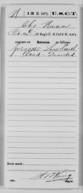 Nunn, Chs - Age [Blank], Year: 1865 - 13th US Colored Heavy Artillery, Misc Cards - United States Colored Troops: Artillery Organizations