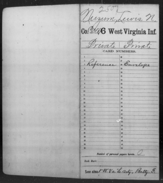 Nuzum, Lewis N - Age [Blank], Year: [Blank] - Sixth Infantry - West Virginia