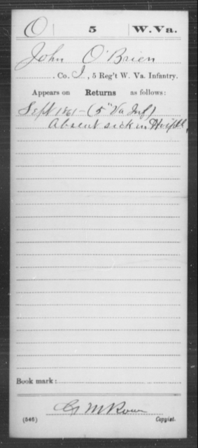 O'Brien, John - Age [Blank], Year: 1861 - Miscellaneous Card Abstracts of Records - West Virginia