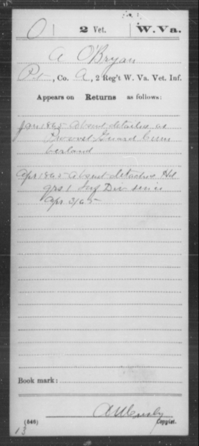 O'Bryan, A - Age [Blank], Year: 1865 - Miscellaneous Card Abstracts of Records - West Virginia