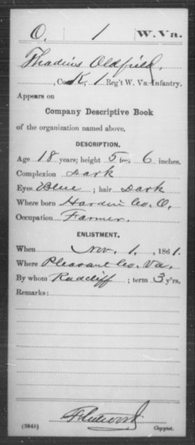 Oldfield, Thadius - Age 18, Year: 1861 - Miscellaneous Card Abstracts of Records - West Virginia