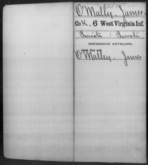 O'Mally, James - Age [Blank], Year: [Blank] - Sixth Infantry - West Virginia