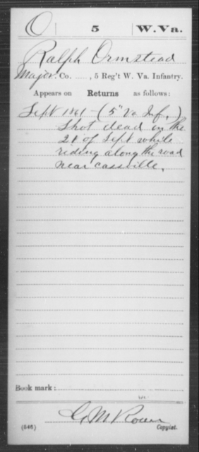 Ormstead, Ralph - Age [Blank], Year: 1861 - Miscellaneous Card Abstracts of Records - West Virginia