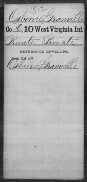 Osborne, Granville - Age [Blank], Year: [Blank] - Tenth Infantry - West Virginia