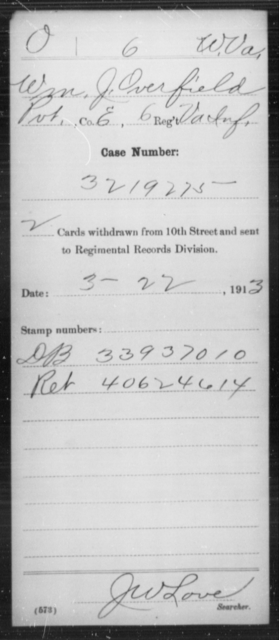 Overfield, Wm J - Age [Blank], Year: [Blank] - Miscellaneous Card Abstracts of Records - West Virginia
