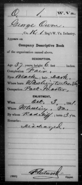 Owen, George - Age 39, Year: 1861 - Miscellaneous Card Abstracts of Records - West Virginia