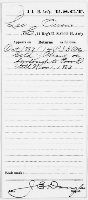 Owens, Lee - Age [Blank], Year: 1863 - 11th US Colored Heavy Artillery, Misc Cards, E-Y - United States Colored Troops: Artillery Organizations