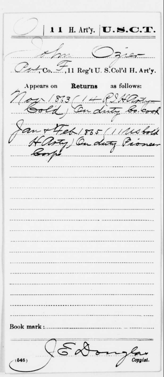 Ozier, John - Age [Blank], Year: 1863 - 11th US Colored Heavy Artillery, Misc Cards, E-Y - United States Colored Troops: Artillery Organizations