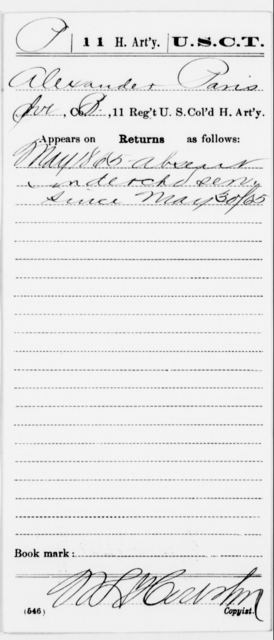 Paris, Alexander - Age [Blank], Year: 1865 - 11th US Colored Heavy Artillery, Misc Cards, E-Y - United States Colored Troops: Artillery Organizations