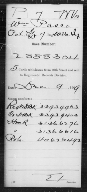 Pasco, Wm - Age [Blank], Year: [Blank] - Miscellaneous Card Abstracts of Records - West Virginia