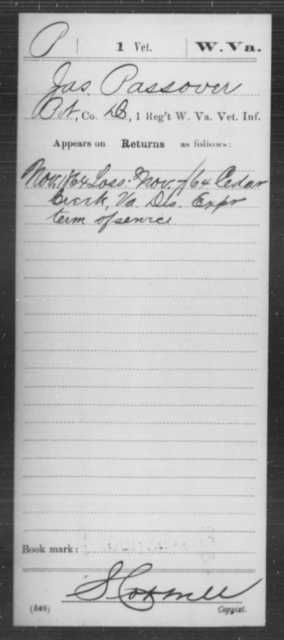 Passover, Jas - Age [Blank], Year: 1864 - Miscellaneous Card Abstracts of Records - West Virginia