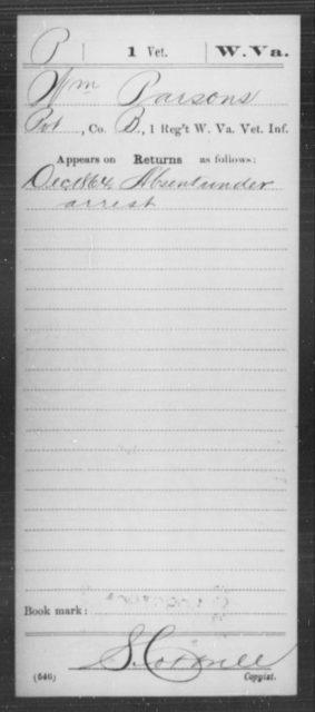 Passover, Wm - Age [Blank], Year: 1864 - Miscellaneous Card Abstracts of Records - West Virginia
