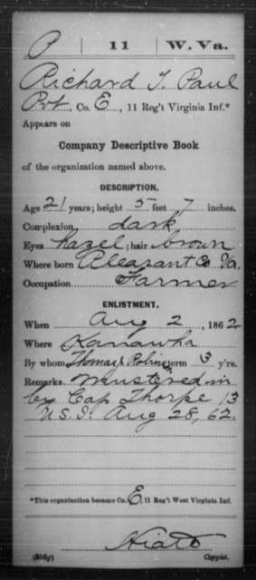 Paul, Richard T - Age 21, Year: 1862 - Miscellaneous Card Abstracts of Records - West Virginia