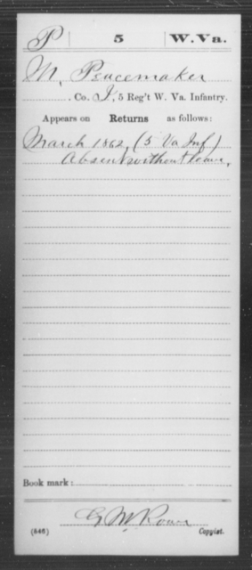 Peacemaker, M - Age [Blank], Year: 1862 - Miscellaneous Card Abstracts of Records - West Virginia
