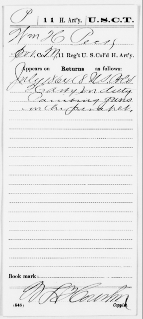 Peck, Wm H - Age [Blank], Year: 1864 - 11th US Colored Heavy Artillery, Misc Cards, E-Y - United States Colored Troops: Artillery Organizations