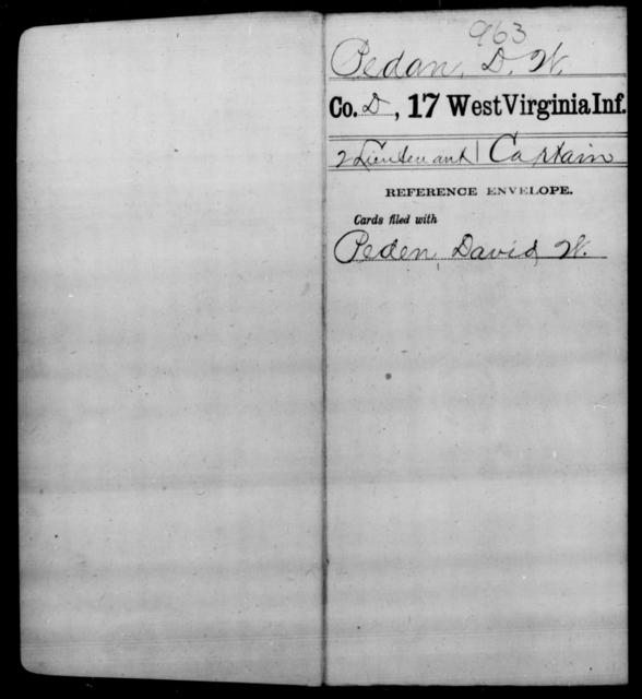 Pedan, D W - Age [Blank], Year: [Blank] - Seventeenth Infantry - West Virginia