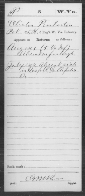 Pemberton, Clinton - Age [Blank], Year: 1863 - Miscellaneous Card Abstracts of Records - West Virginia