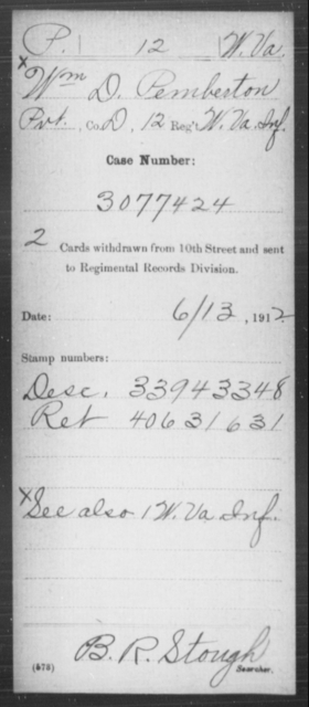 Pemberton, Wm D - Age [Blank], Year: [Blank] - Miscellaneous Card Abstracts of Records - West Virginia