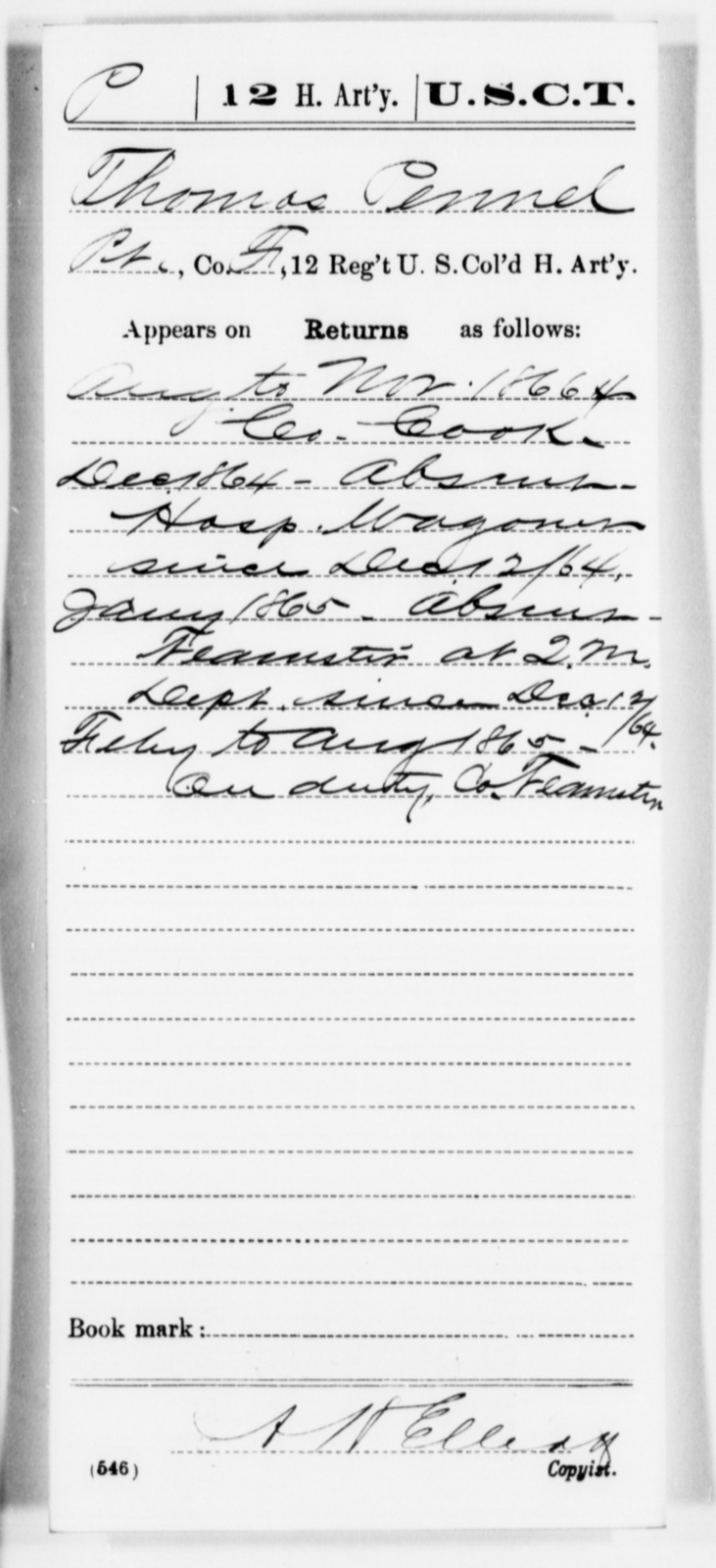 Pennel, Thomas - Age [Blank], Year: 1865 - 12th US Colored Heavy Artillery, Misc Cards, H-Y - United States Colored Troops: Artillery Organizations