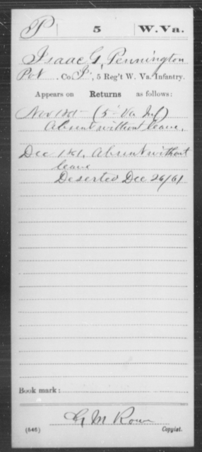 Pennington, Isaac G - Age [Blank], Year: 1861 - Miscellaneous Card Abstracts of Records - West Virginia