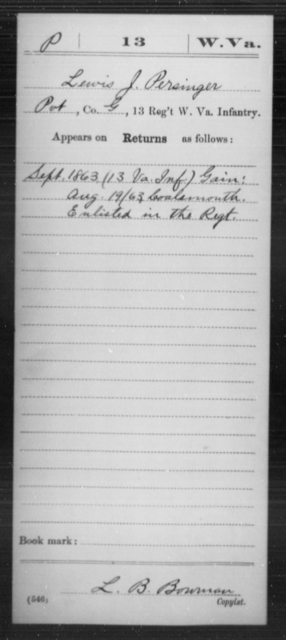 Persinger, Lewis J - Age [Blank], Year: 1863 - Miscellaneous Card Abstracts of Records - West Virginia