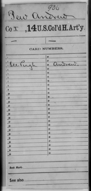 Pew, Andrew - Age [Blank], Year: [Blank] - 14th US Colored Heavy Artillery - United States Colored Troops: Artillery Organizations