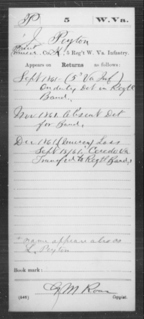 Peyton, J - Age [Blank], Year: 1861 - Miscellaneous Card Abstracts of Records - West Virginia