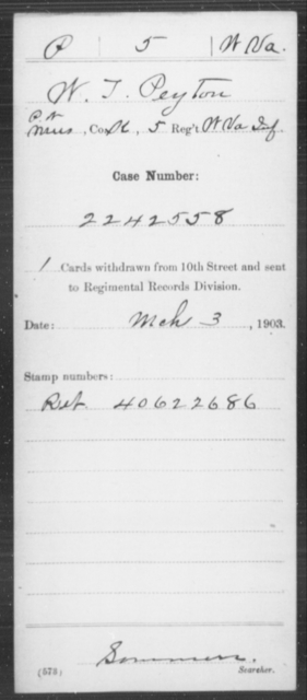 Peyton, W T - Age [Blank], Year: [Blank] - Miscellaneous Card Abstracts of Records - West Virginia