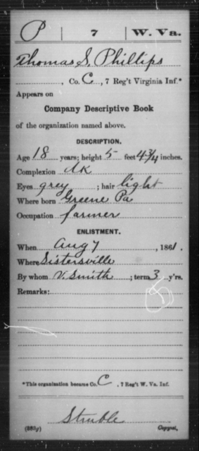Phillips, Thomas S - Age 18, Year: 1861 - Miscellaneous Card Abstracts of Records - West Virginia