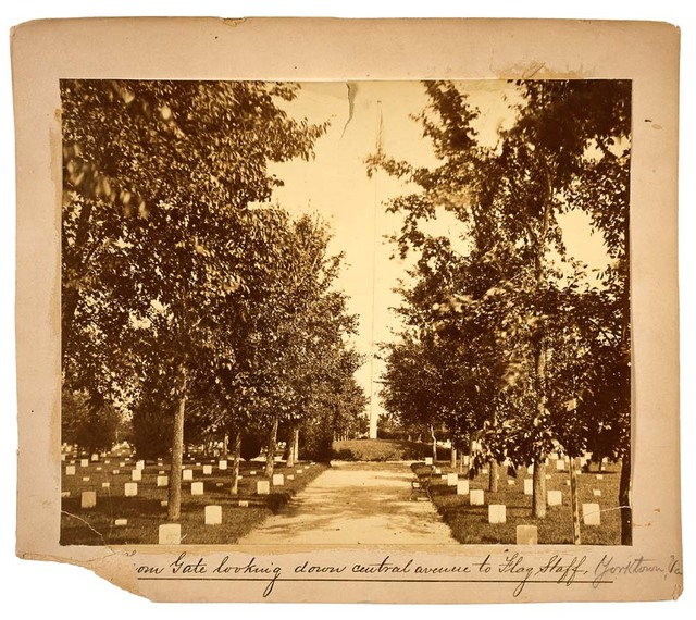 Photograph of Yorktown National Cemetery from Gate Looking Down Central Avenue towards Flag Staff
