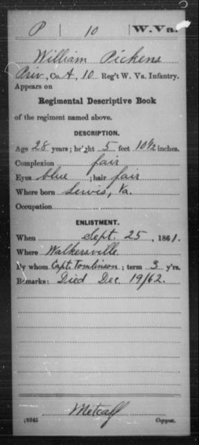 Pickens, William - Age 28, Year: 1861 - Miscellaneous Card Abstracts of Records - West Virginia