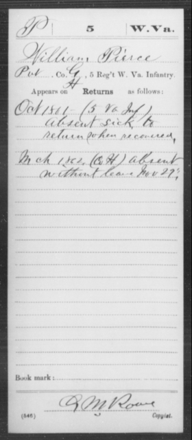 Pierce, William - Age [Blank], Year: 1861 - Miscellaneous Card Abstracts of Records - West Virginia