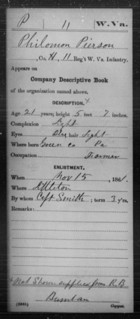 Pierson, Philomon - Age 21, Year: 1861 - Miscellaneous Card Abstracts of Records - West Virginia