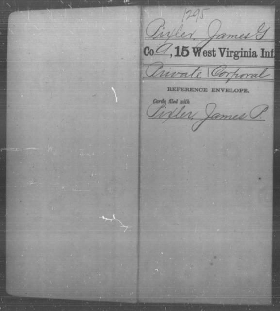Pixler, James G - Age [Blank], Year: [Blank] - Fifteenth Infantry - West Virginia