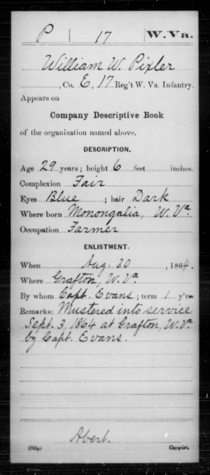 Pixler, William W - Age 29, Year: 1864 - Miscellaneous Card Abstracts of Records - West Virginia