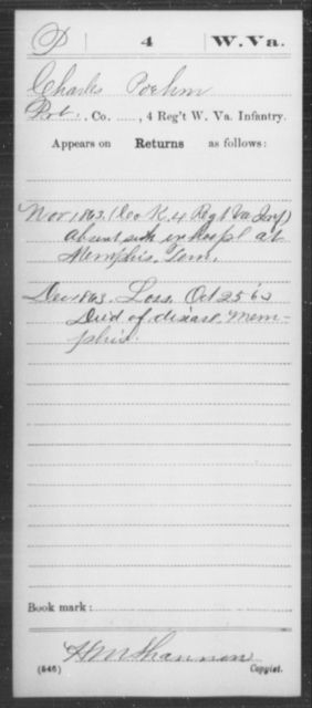 Poehm, Charles - Age [Blank], Year: 1863 - Miscellaneous Card Abstracts of Records - West Virginia