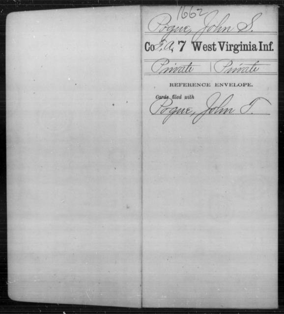 Pogue, John S - Age [Blank], Year: [Blank] - Seventh Infantry - West Virginia