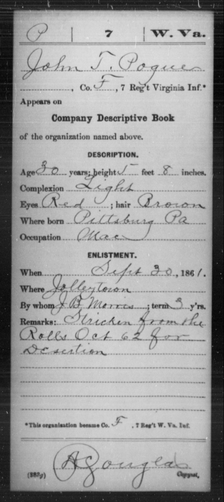 Pogue, John T - Age 30, Year: 1861 - Miscellaneous Card Abstracts of Records - West Virginia