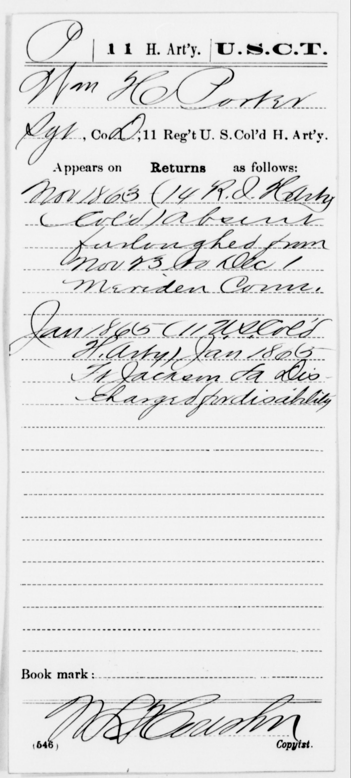 Porter, Wm H - Age [Blank], Year: 1863 - 11th US Colored Heavy Artillery, Misc Cards, E-Y - United States Colored Troops: Artillery Organizations