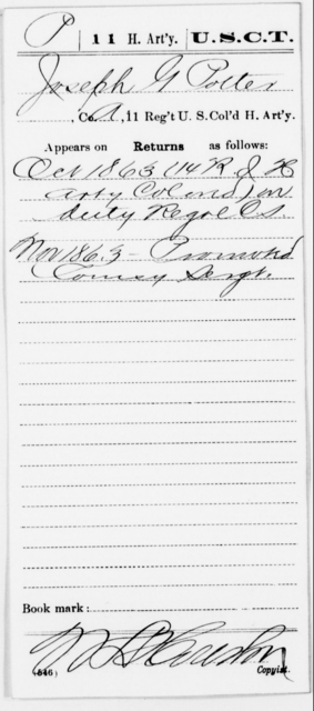 Potter, Joseph G - Age [Blank], Year: 1863 - 11th US Colored Heavy Artillery, Misc Cards, E-Y - United States Colored Troops: Artillery Organizations