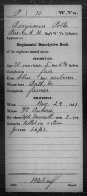Potts, Benjamin - Age 30, Year: 1861 - Miscellaneous Card Abstracts of Records - West Virginia