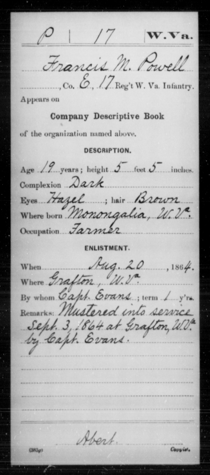 Powell, Francis M - Age 19, Year: 1864 - Miscellaneous Card Abstracts of Records - West Virginia
