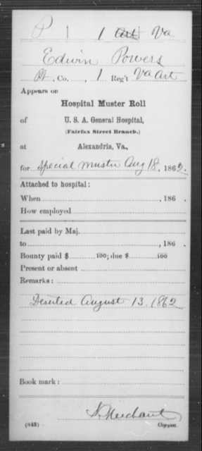 Powers, Edwin - Age [Blank], Year: 1862 - Miscellaneous Card Abstracts of Records - West Virginia
