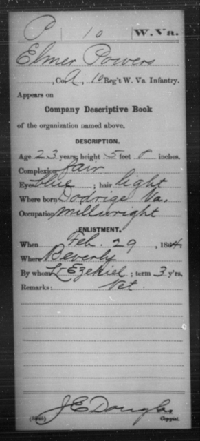 Powers, Elmer - Age 23, Year: 1864 - Miscellaneous Card Abstracts of Records - West Virginia